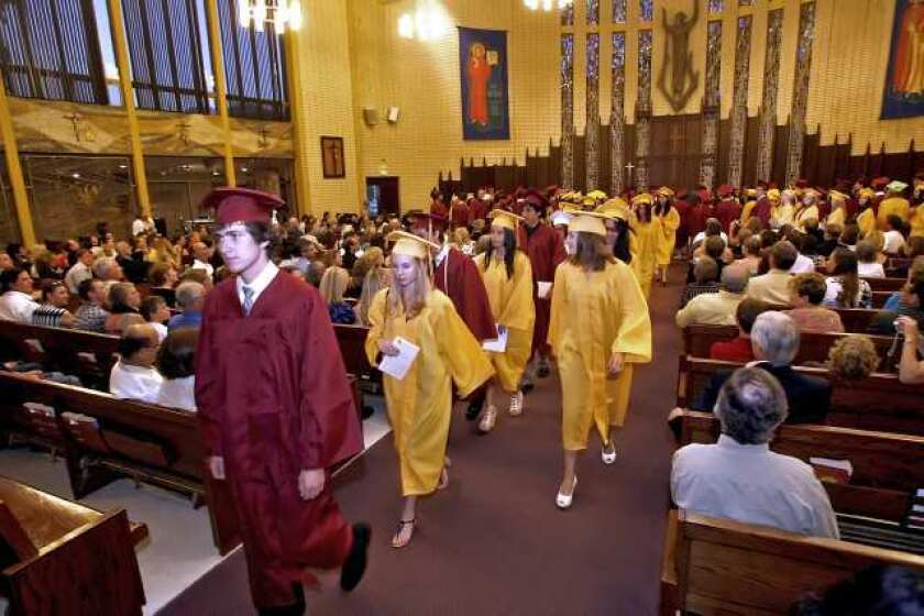 Area graduates participated in the interfaith baccalaureate service at St. Bede Church Tuesday.
