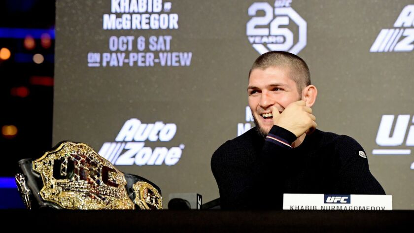 Lightweight champion Khabib Nurmagomedov reacts during the UFC 229 press conference at Radio City Music Hall on Sept. 20 in New York City.