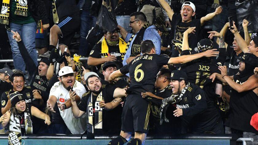 LOS ANGELES, CALIFORNIA , NOVEMBER 1, 2018-LAFC's DaniloSilva celebrates his goal against RSL in the