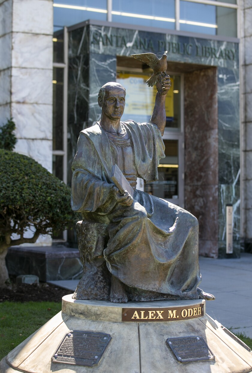A statue dedicated to Alex Odeh outside the Santa Ana Public Library.