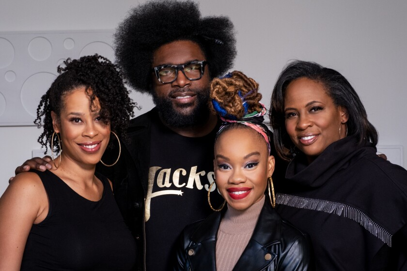 "Dominique Morisseau, left, Ahmir ""Questlove"" Thompson, Camille A. Brown, and Kamilah Forbes."