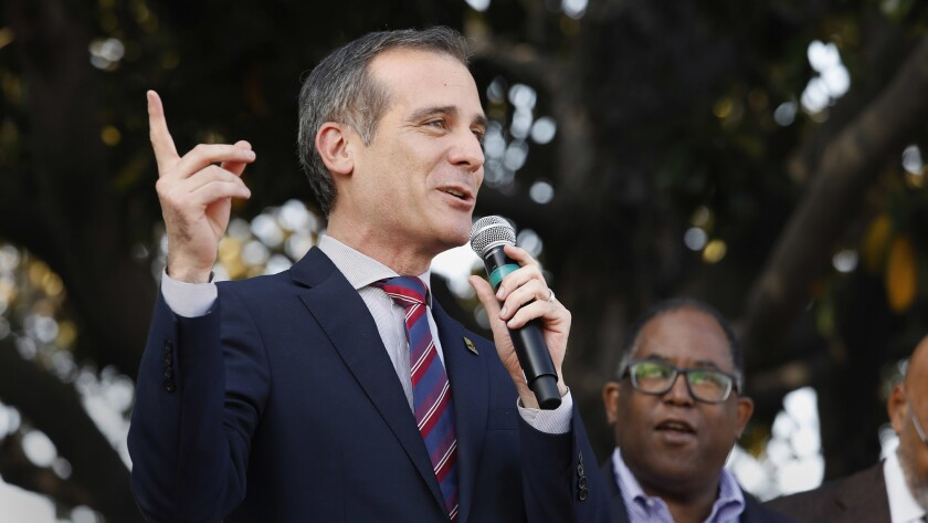 Mayor Eric Garcetti attends the renaming ceremony for Obama Boulevard.