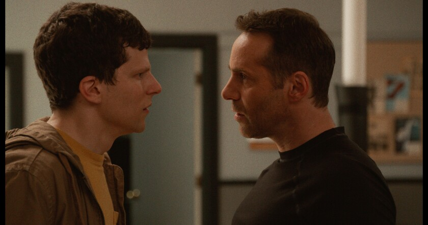 """Jesse Eisenberg (left) as ?Casey? and Alessandro Nivola (right) as """"Sensei"""" in writer/director Riley"""