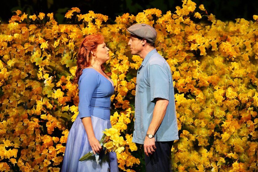 "Bets Malone and Josh Adamson in Moonlight Stage Productions' ""Big Fish."""