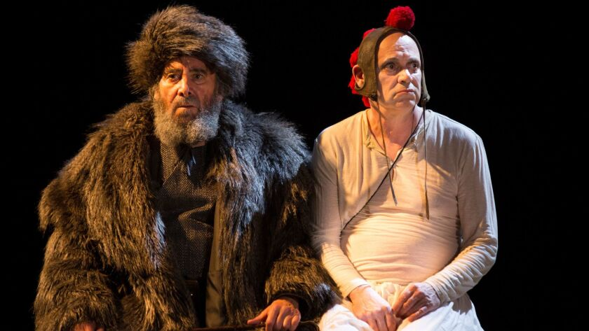 Antony Sher as Lear, Graham Turner as the Fool in the Royal Shakespeare Company production.