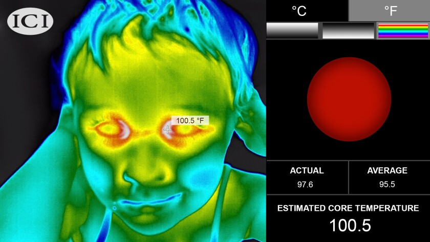 A thermal camera made by Infrared Cameras Inc. shows a person's temperature.