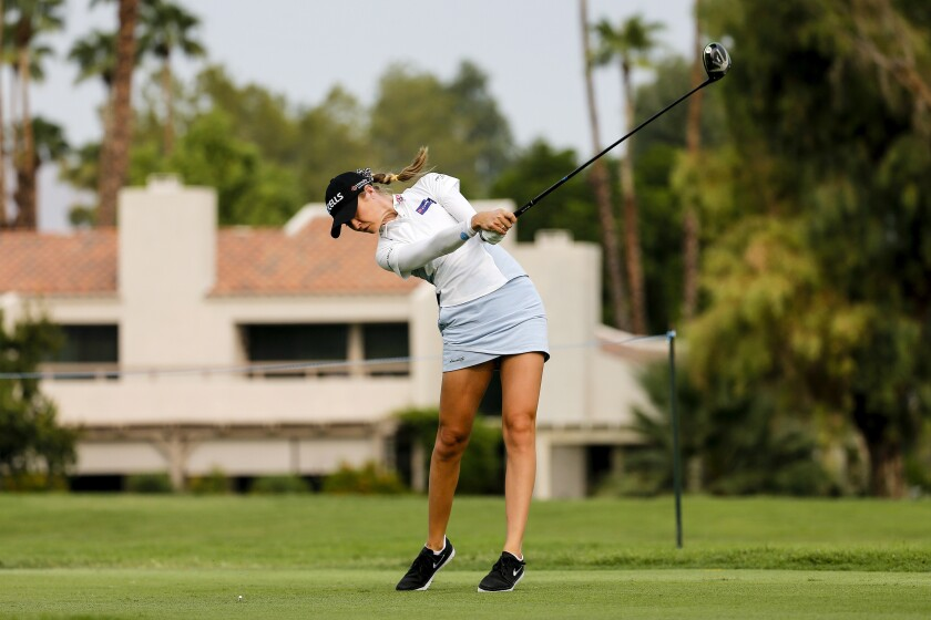 Nelly Korda hits her tee shot on No. 12 during the second round of the the ANA Inspiration golf tournament Sept. 11, 2020.