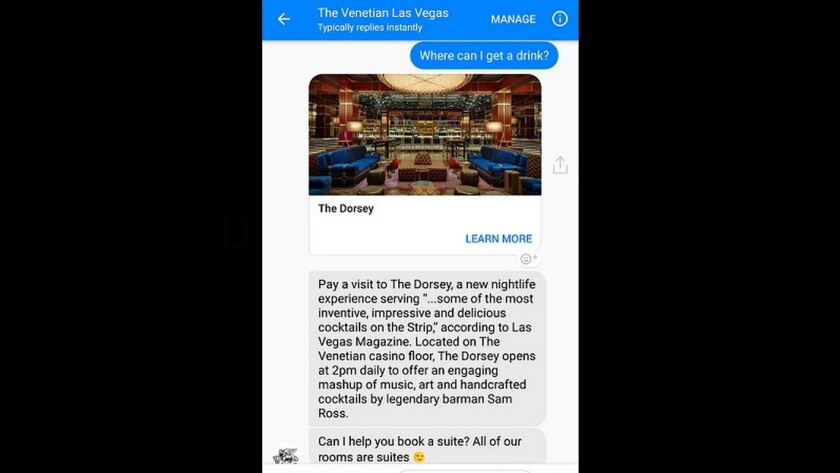 Now you can use Facebook Messenger to book your reservation