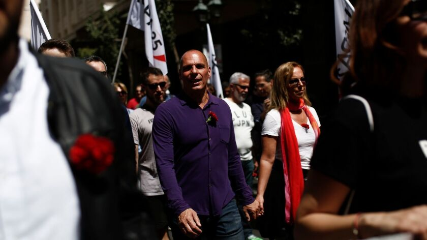 Yanis Varoufakis at a May Day rally in Greece. He comes to LA to talk about his new book.