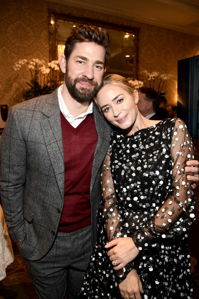 John Krasinski and wife Emily Blunt at the BAFTA Los Angeles tea party.