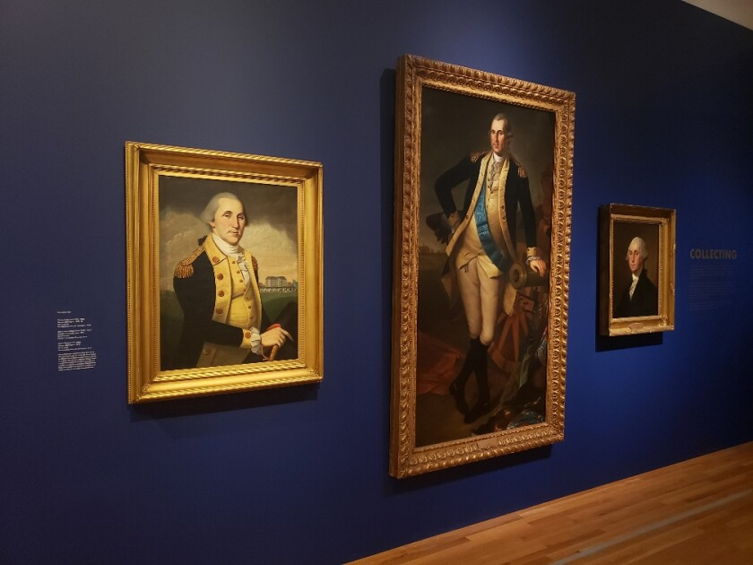 A George Washington portrait painted by Gilbert Stuart, right.