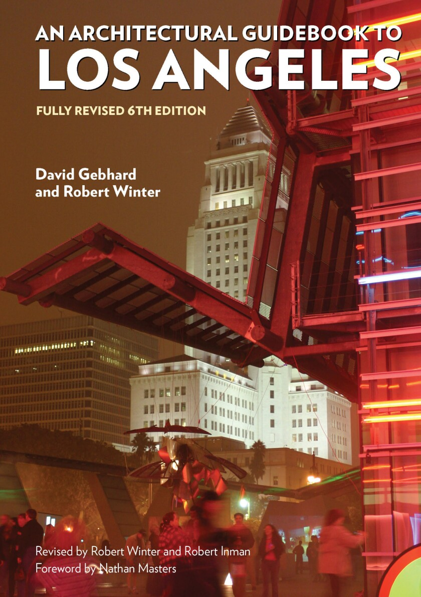 """A book jacket of """"An Architectural Guidebook to Los Angeles by David Gebhard and Robert Winter. Cred"""