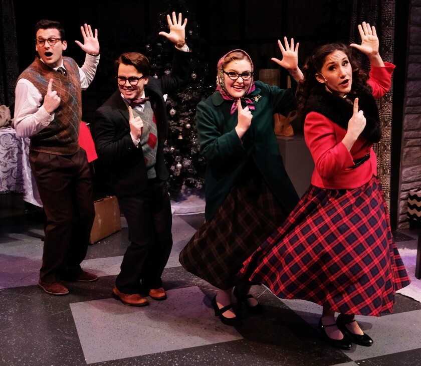 """Michael Louis Cusimano, Beau Brians, Nicki Elledge and Caitie Grady (from left) in """"It's Christmas and It's Live!"""" at Lamb's Players Theatre."""