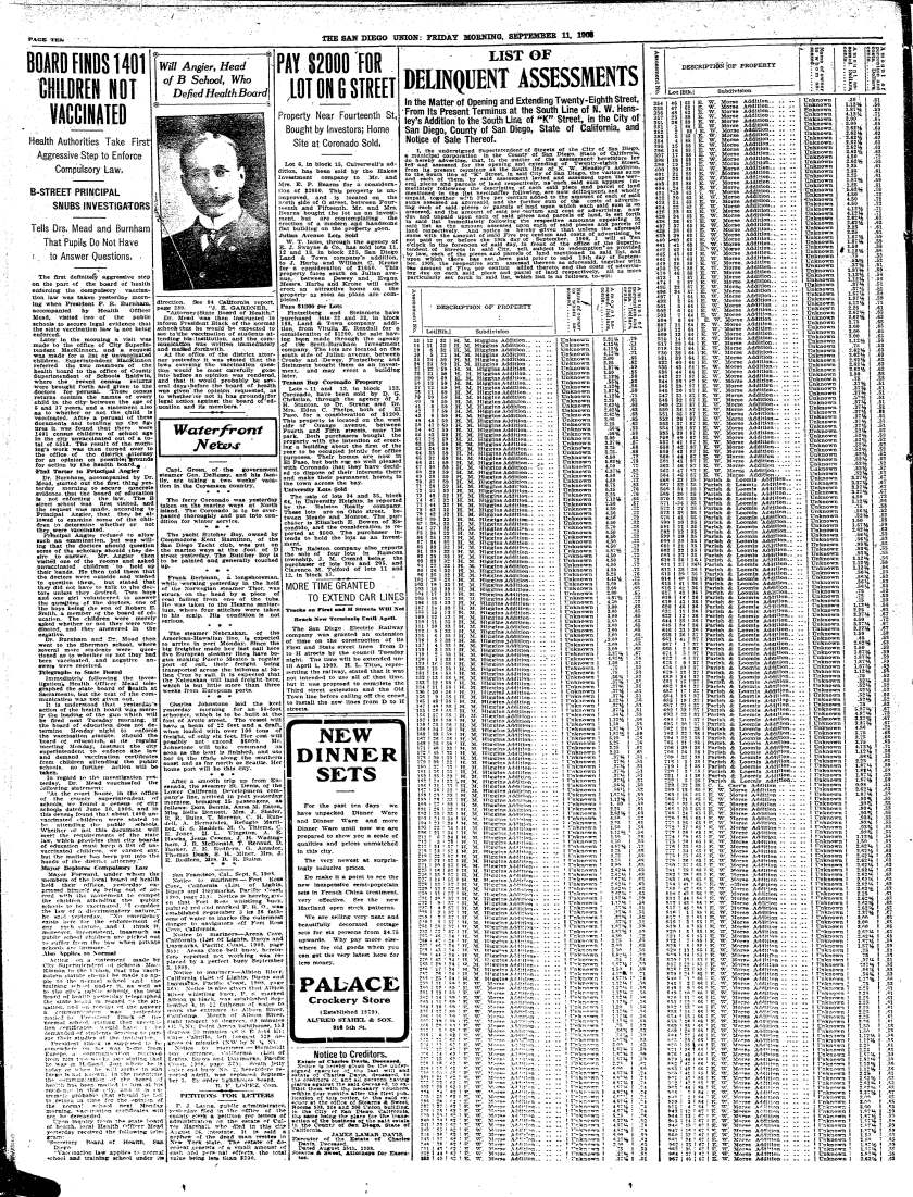 Page from The San Diego Union, Friday, Sept. 11, 1908.