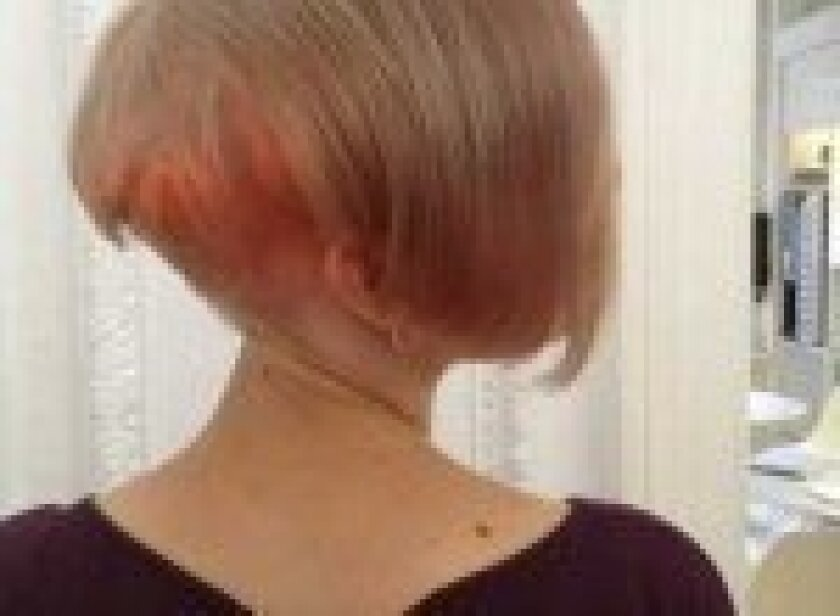 Beautiful touch of pink hues at the neckline create an interesting effect when the hair moves
