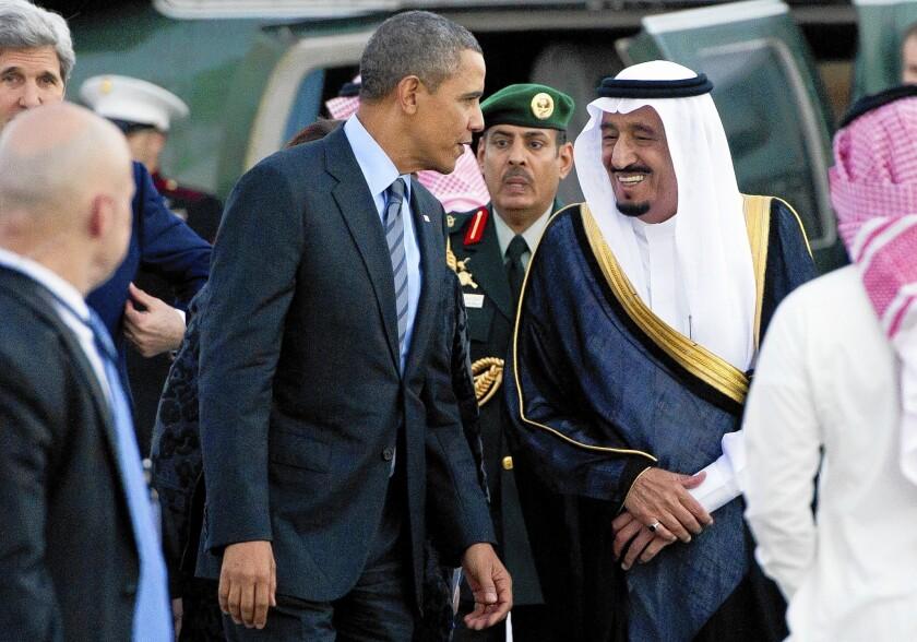 Saudi Crown Prince Salman ibn Abdulaziz al Saud greets President Obama at King Abdullah's desert camp in Rawdat Khuraim, Saudi Arabia. The Saudis want the U.S. to provide more arms to rebels in Syria.