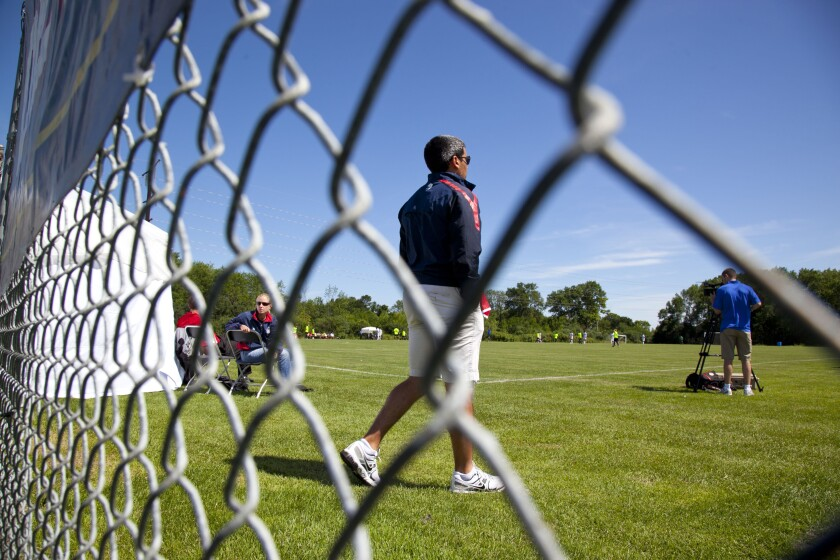 A U.S. Soccer youth director watches a game of U-17 and 18 players at the U.S. Soccer Development academy in Milwaukee.
