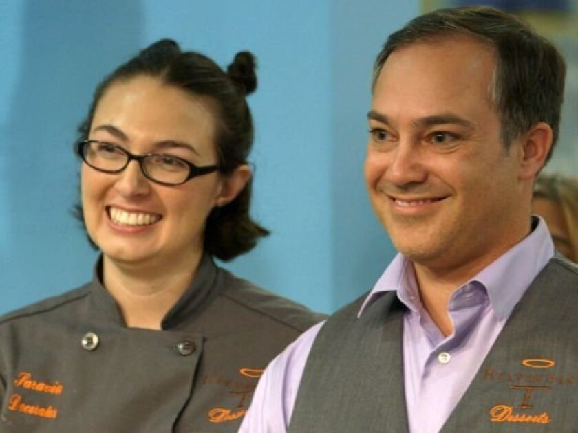 """Heaven Sent Desserts owner Lachlan Oliver and assistant Aya Saravia compete against another team Feb. 19 on Food Network's """"Duff Till Dawn"""" cake competition show."""