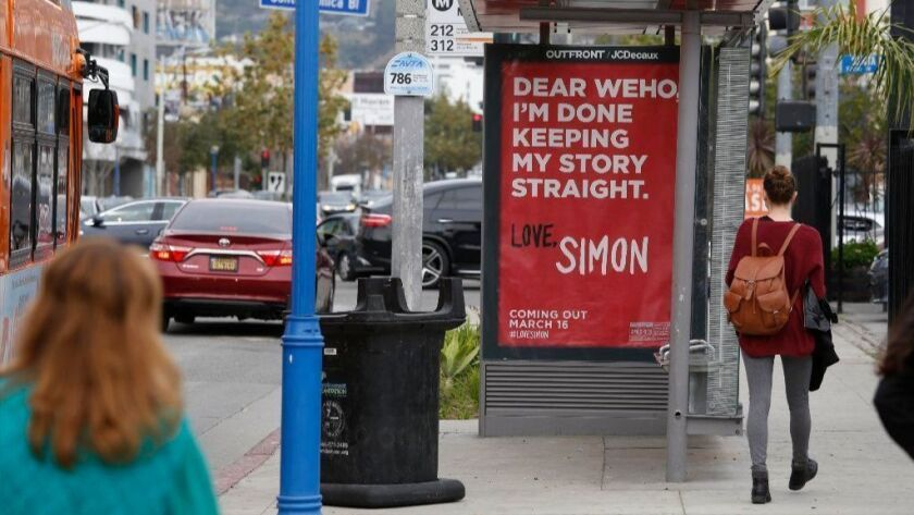 """A """"Love, Simon"""" bus stop ad in West Hollywood on March 7."""