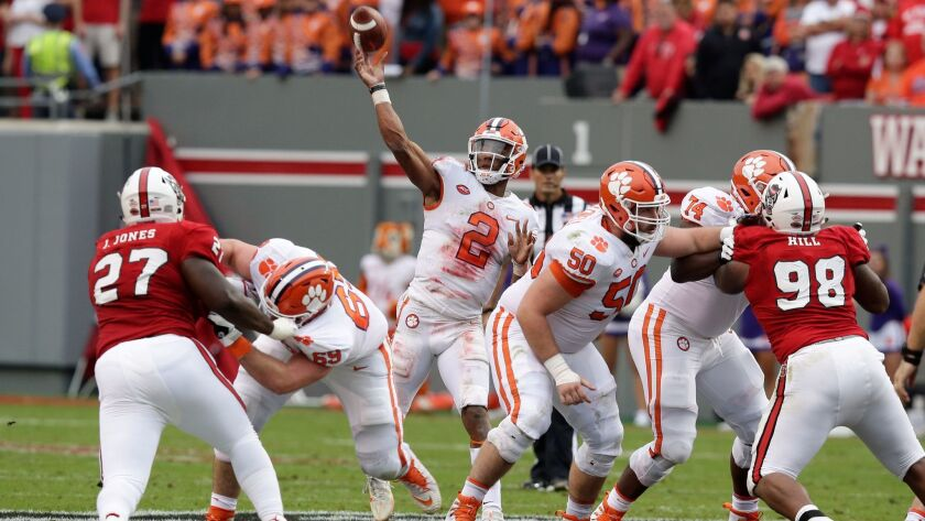 Clemson quarterback Kelly Bryant passes against North Carolina State during the first half.