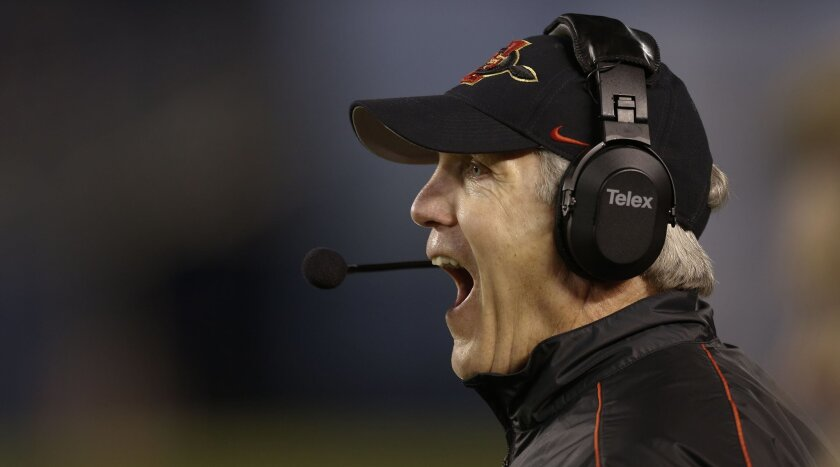 Aztec head coach Rocky Long reacts to King Holder intercepting BYU quarterback James Lark and returns it for 2-yards early in the fourth.