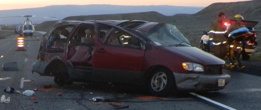 Authorities suspect a van involved in a human smuggling operation crashed before dawn Friday in Utah, killing four people and injuring at least four of the other five occupants.