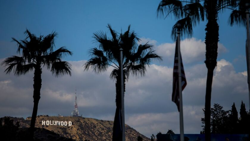 LOS ANGELES, CA - FEBRUARY 28: The Hollywood sign is seen from the Hollywood & Highland Center's Bab