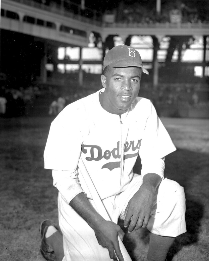 Jackie Robinson at Ebbets Field in New York on April 11, 1947, four days before his major league debut.