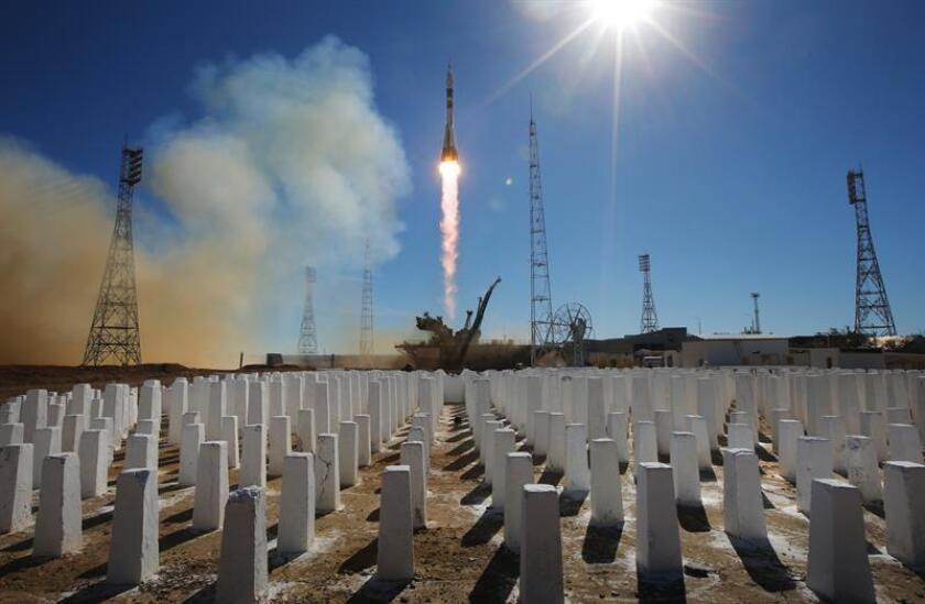 Lanzamiento de la Soyuz MS-10 desde el cosmódromo de Baikonur (Kazajistán). EFE/Archivo
