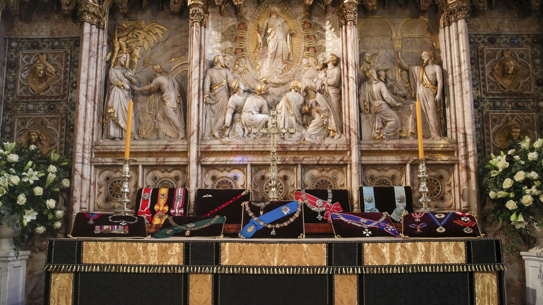 Prince Philip's insignias are on display on the altar in St. George's Chapel.