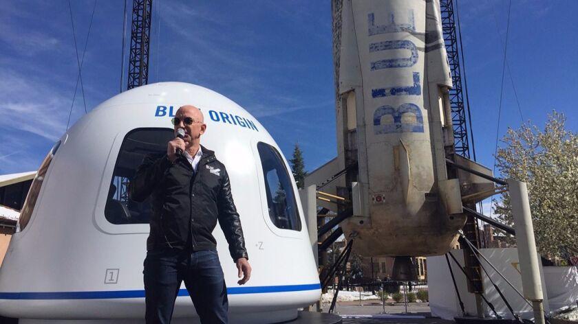 Jeff Bezos unveils Blue Origin's crew capsule at the Space Symposium in Colorado Springs, Colo., on Wednesday.