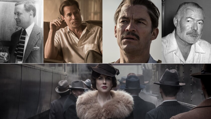 F. Scott Fitzgerald, upper left, is played by Guy Pearce; Dominic West plays Ernest Hemingway; and Nicole Kidman plays Aline Bernstein.