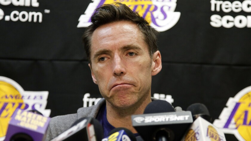 Lakers guard Steve Nash speaks to reporters during a news conference in El Segundo on Oct. 23.