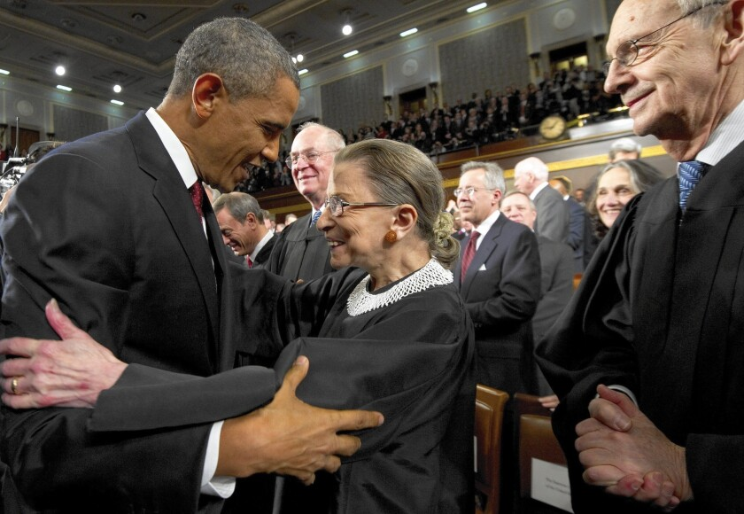 President Obama, greeting Justice Ruth Bader Ginsburg before his 2012 State of the Union address, isn't likely to get another liberal like her on the Supreme Court under the new Republican-majority Senate.