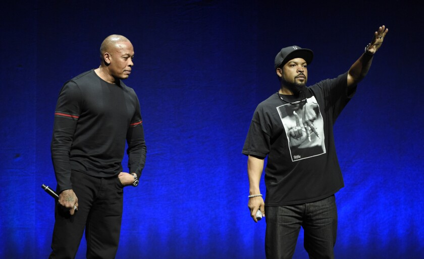 """N.W.A members Dr. Dre, left, and Ice Cube are two of the subjects of the upcoming biographical drama """"Straight Outta Compton."""" Dr. Dre's new album, """"Compton: A Soundtrack,"""" arrives Friday."""