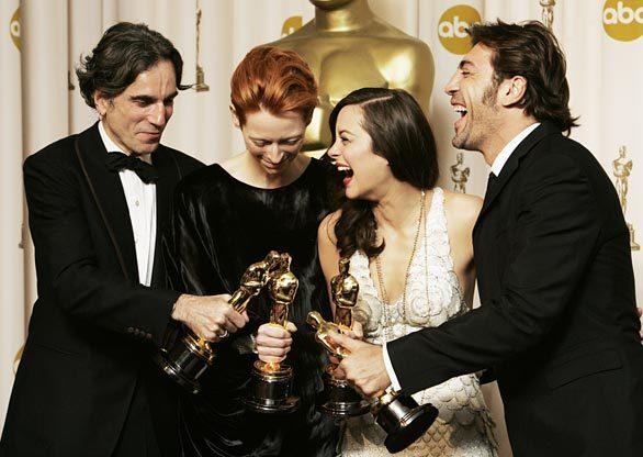 Oscar  pictures -- Day-lewis, Swinton, Cotillard, Bardem