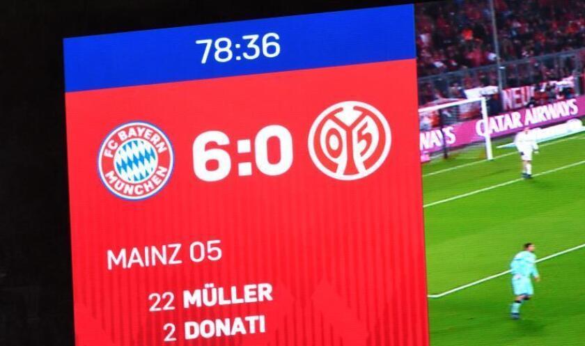 El marcador del estadio muestra el resutado final del partido que han disputado Bayern Múnich y FSV Mainz 05 en Múnich, Alemania. EFE/EPA
