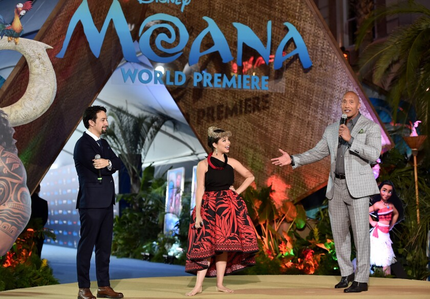 "Onstage at Hollywood's El Capitan Theatre for the Nov. 14 world premiere of Disney's ""Moana,"" from left, Lin-Manuel Miranda, Auli'i Cravalho and Dwayne Johnson."