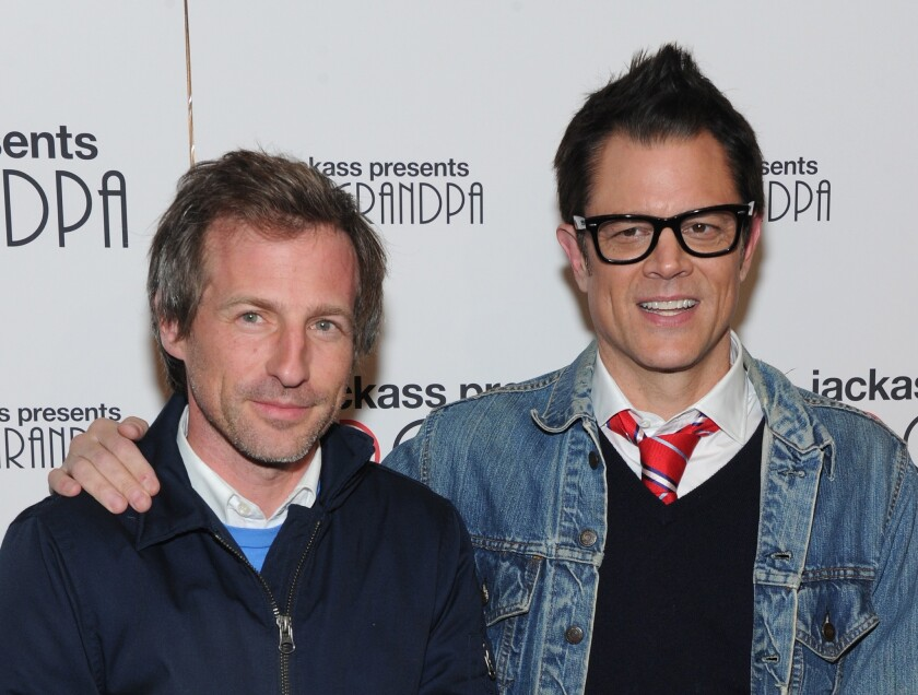 """Director Spike Jonze and actor Johnny Knoxville attend the """"Jackass Presents: Bad Grandpa"""" New York Special Screening at New York's Sunshine Landmark on October 21, 2013."""