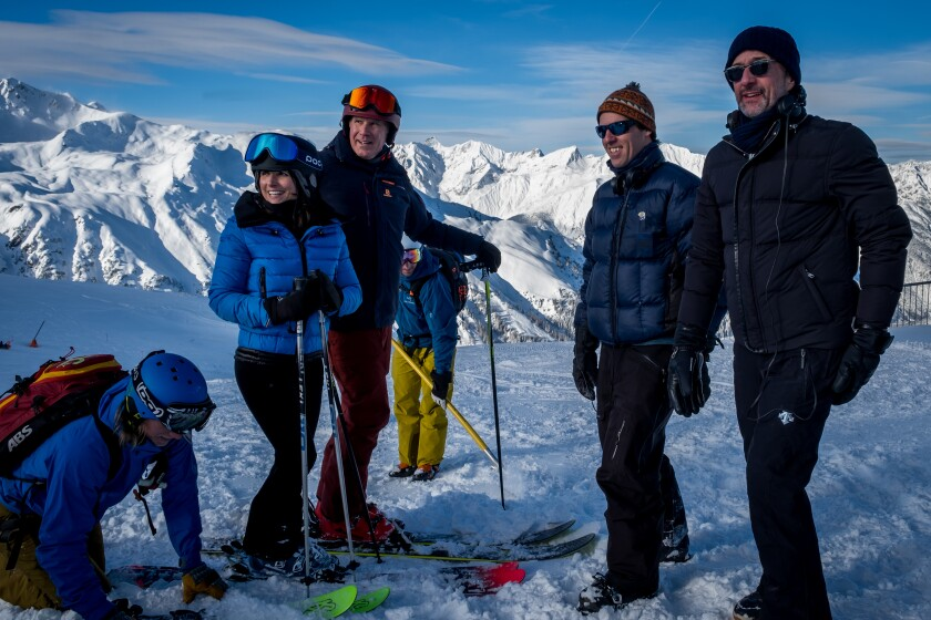 """Downhill's"" Julia Louis-Dreyfus, Will Ferrell and directors Nat Faxon and Jim Rash on an Austrian mountain."