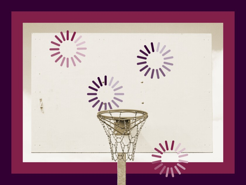 Illustration of a basketball hoop and backboard with icons indicating slow loading.