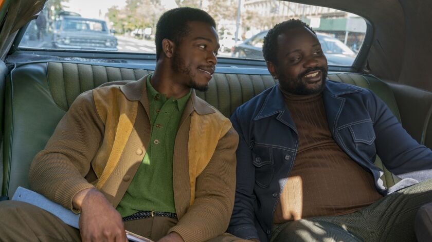 This image released by Annapurna Pictures shows Stephan James, left, and Brian Tyree Henry in a scen