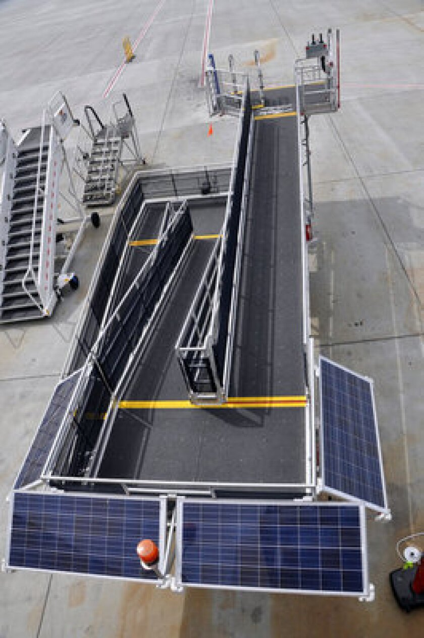 Alaska Airlines is testing solar-powered passenger ramps.