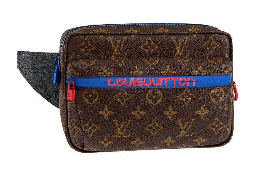 Logomania takes a sporty turn in Louis Vuitton's fanny pack, $2,100. Available at select Louis Vui