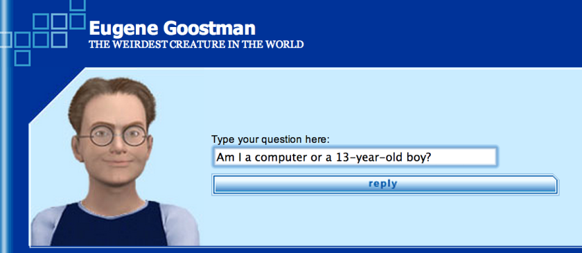 A screenshot of Eugene Goostman, the first program to pass the Turing Test, which is used to measure a computer's artificial intelligence.