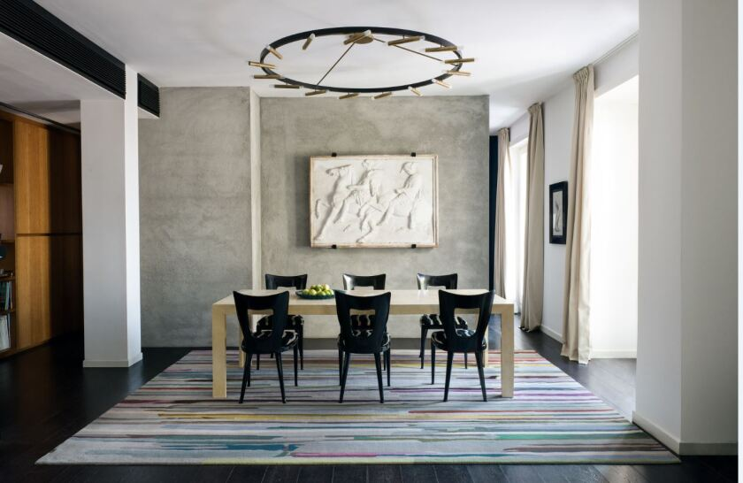 Paul Smith's new Paint Stripe rug for the Rug Company is inspired by midcentury modern abstract art, specifically drip painting. It retails for $145 per square foot.