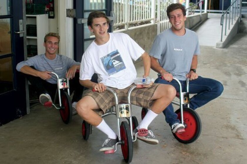 James Huntley, Troy Cummings and Brock Macelli might not fit on the tricycles like they used to!