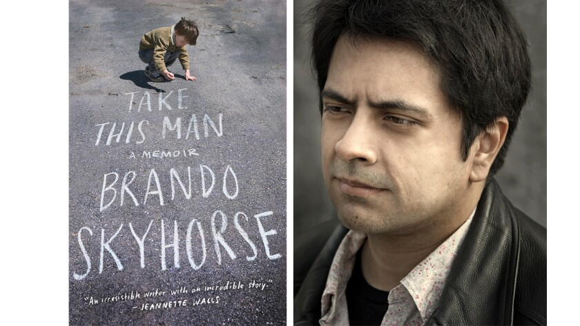 "Author Brando Skyhorse and the cover of his book ""Take This Man."""