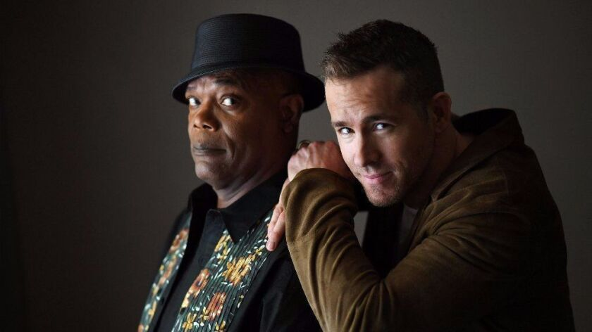 Samuel L. Jackson and Ryan Reynolds in Beverly Hills.