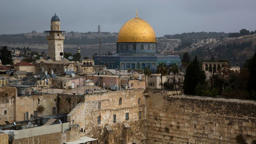 FILE - In this Dec. 6, 2017 file photo, a view of the Western Wall and the Dome of the Rock, some of
